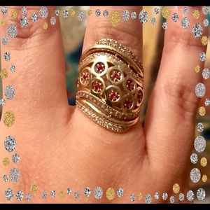 Jewelry - 14K gold genuine Rubies and CZ ring size: 7